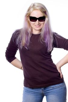 Free Pretty Girl With Violet Hair Stock Image - 736921