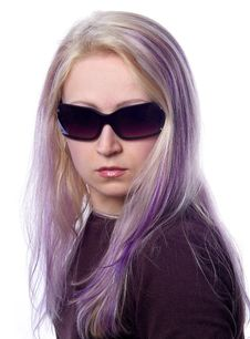 Free Pretty Girl With Violet Hair Stock Image - 737031