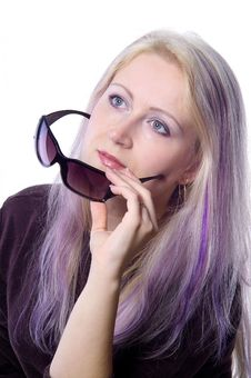 Free Pretty Girl With Violet Hair Stock Photos - 737183