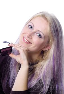 Free Pretty Girl With Violet Hair Stock Image - 737341