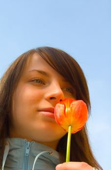 The Girl With A Flower Royalty Free Stock Photo