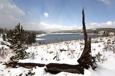 Free Early Spring Snow On The Lake Royalty Free Stock Photography - 738137