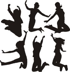Free Jumping People Silhouettes Stock Image - 7323701