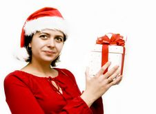 Free Christmas Woman With Gift Stock Photography - 7328762