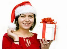Free Christmas Woman With Gift Stock Photos - 7328843