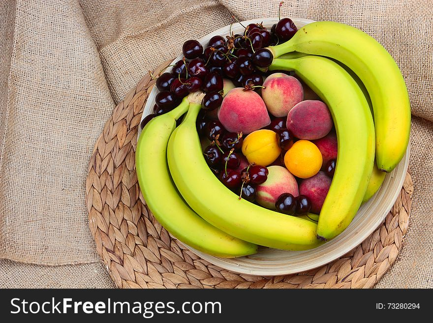 Wooden Bowl of Fruits