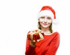 Free Christmas Woman With Gift Royalty Free Stock Images - 7357959