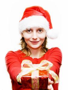 Free Christmas Woman With Gift Royalty Free Stock Image - 7357966