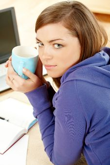Free Beautiful Woman With Cup In Home Stock Photography - 7359462