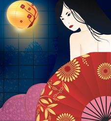 Free Japanese Geisha Illustration Stock Photos - 73554823