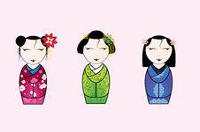 Free Vector Illustration Of Cute Japanese Geisha Set Royalty Free Stock Photos - 73776338