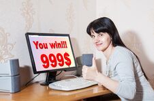 Woman Rejoices Win $ 999 Stock Photography