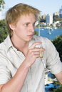 Free Young Man Drinking Champagne Stock Photography - 745742
