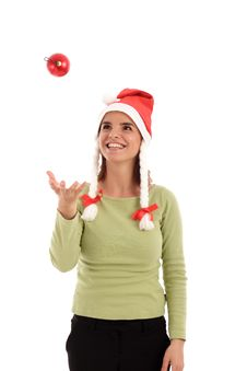 Free Young Woman Playing With Christmas Tree Ornament Stock Photography - 742342