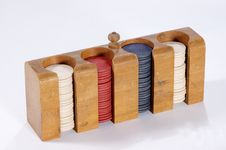 Poker Chips In Case Stock Images