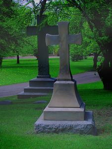 Free Two Large Crosses In A Cemetery, With Fog Royalty Free Stock Images - 745289