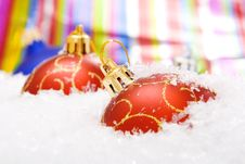 Free Christmas Balls With Snow Stock Photography - 7416922