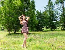 Free Young Beautiful Brunette Standing On The Grass Stock Images - 74191694