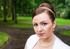 Free Portrait Of A Bride In A City Park Royalty Free Stock Image - 74192206