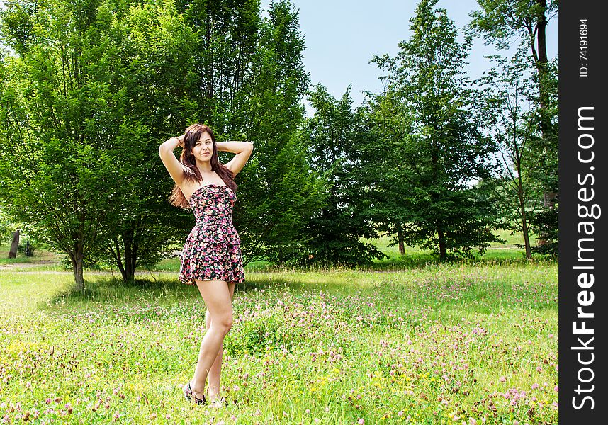 Young beautiful brunette standing on the grass