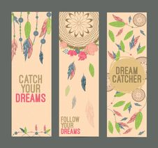 Free Hand Drawn Native American Dreamcatcher Banner Set. Eps 10 Royalty Free Stock Images - 74631729