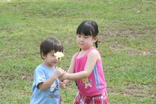 Free Girl & Boy Holding A Flower Royalty Free Stock Photo - 751235