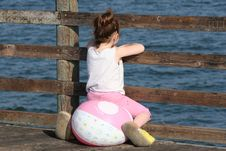 Free Little Girl On Pier Royalty Free Stock Images - 755619