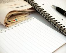 Free Notebook, Pen And Newspaper 2 Stock Photos - 759443