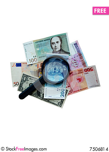 Free Magnifier On Different Banknotes Stock Images - 7506814