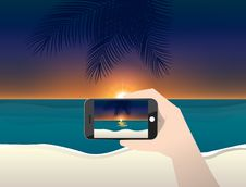 Vector Illustration Travel Photo Of Sunset And Beach Royalty Free Stock Images