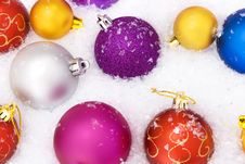 Free Christmas Balls With Snow Royalty Free Stock Photo - 7510085