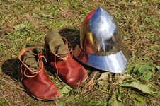 Teutonic Medieval Boots And Helmet Stock Photos