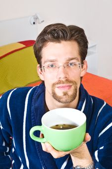 Free Young Man Drinking His Morning Tea Royalty Free Stock Images - 7586579