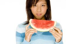 Free Girl With Melon Royalty Free Stock Photo - 760275