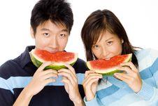 Free Enjoying Watermelon Stock Image - 760511