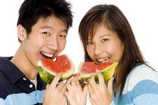 Free Enjoying Watermelon Royalty Free Stock Photo - 760575