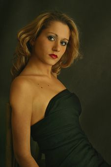 Free Irina S Portrait In A Black Dress Stock Image - 761031