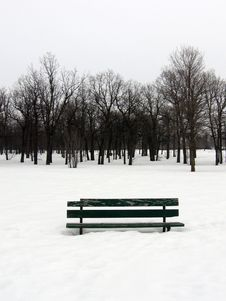 Free Park Bench In Winter Stock Photography - 761322