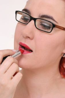 Girl With Lipstick Royalty Free Stock Photos