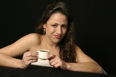 Free Brazilian Woman With Cup Of Coffee Stock Photography - 765432