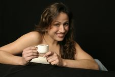 Free Brazilian Woman With Cup Of Coffee Royalty Free Stock Image - 765436