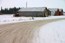 Free Snowy Old Farm Buildings Stock Image - 766041