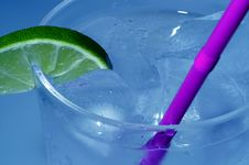 Cold Drink With Lime Stock Photography