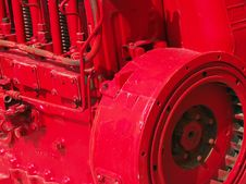 Free Bright Red Industrial Engine, Close-up Royalty Free Stock Images - 768589