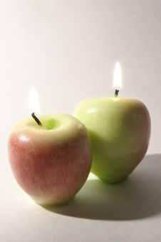 Free Apples On Fire - Candles Stock Photography - 769312
