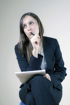 Free Young Attractive Secretary Thinking Stock Images - 7624774