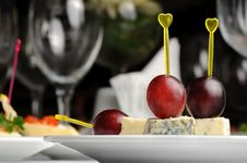 Free Canape With Roquefort Cheese Stock Photography - 7647022