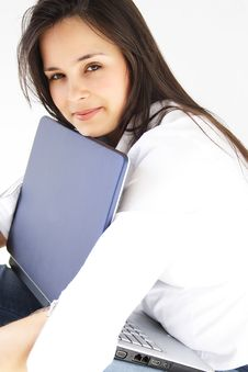 Free Girl With Her Laptop Stock Images - 7648954