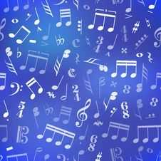 Music Signs And Note On Blue Blurred Background Royalty Free Stock Photography