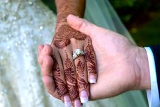Bride And Groom S Hands With Wedding Rings Royalty Free Stock Images